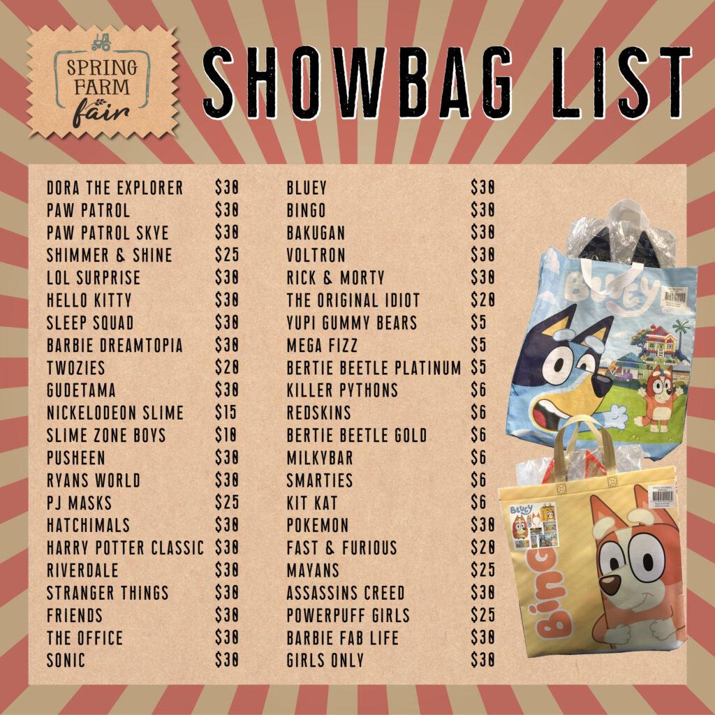 Spring Farm Fair - Showbag List 2