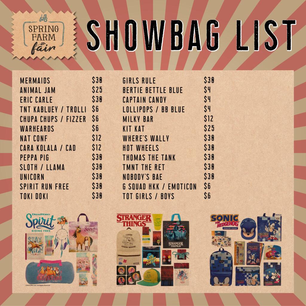 Showbag List - Spring Farm Fair