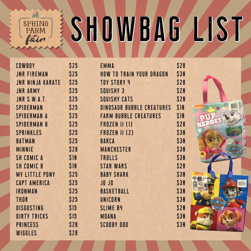Show Bag List 4 - Spring Farm Fair