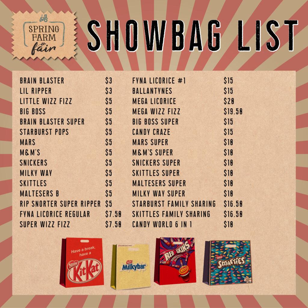 Spring Farm Fair Showbag List 3